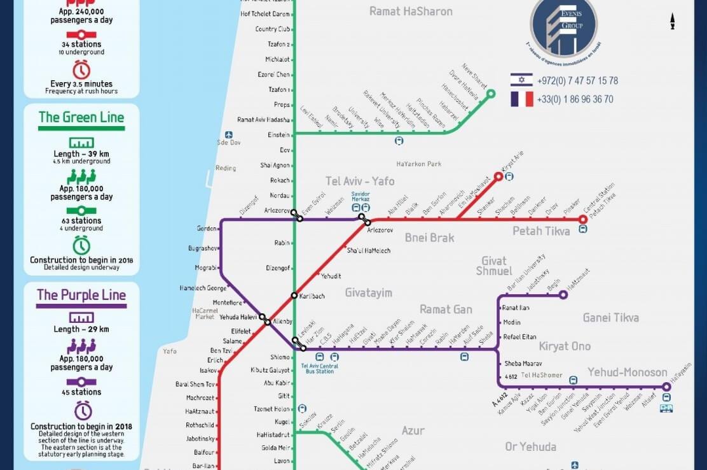 Carte du métro à Tel Aviv